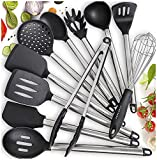 Home Hero 11 Silicone Cooking Utensils Kitchen Utensil Set - Stainless Steel Silicone Kitchen...
