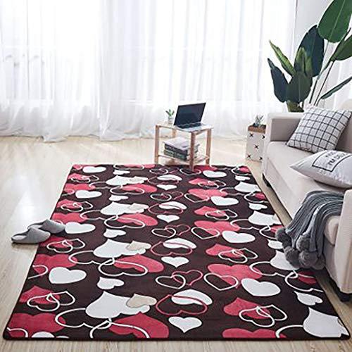 m·kvfa Non-Slip Thick Coral Fleece Carpet Mat Sofa Blanket Coffee Table Blanket Bed Mat Living Room Sofa Cushion Anti-Slip Rug (80 X 50cm, E)