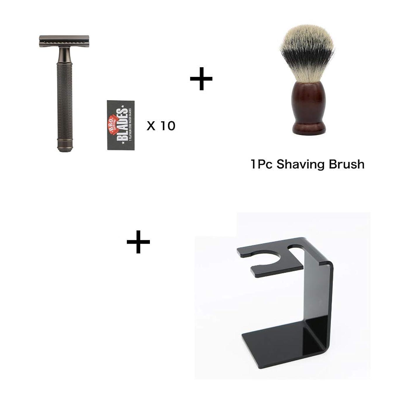 縞模様のアクティビティホイップMen's Shaving Kit, Double Edge Classic Manual Razor + Shaving Brush + Razor And Shaving Brush Holder + 10 Pcs Blade, Hair Removal, Men's Safety Razor 男性用シェービングキット、ダブルエッジクラシック手動かみそり+シェービングブラシ+かみそりとシェービングブラシホルダー+ 10個刃、脱毛、男性用安全かみそり