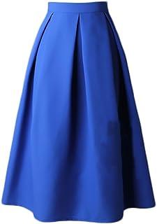268966a4255933 Faldas Mujer Elegantes Cintura Alta Falda Plisada Años 50 A-Line Vintage  Moda Color Solido