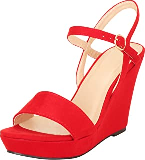 e9e0634d7ba Cambridge Select Women s Strappy Open Toe Single Band Buckle Ankle Platform  Wedge Sandal