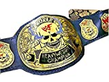 WWF Stone Cold Smoking Skull Belt in 4MM Thick Brass, Snake Skin Leather Backing