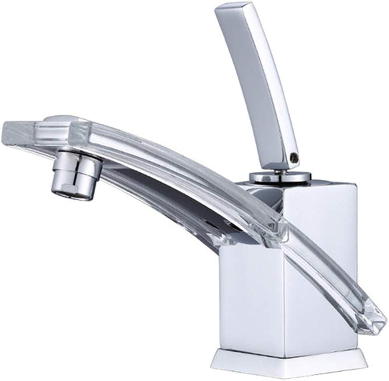 JYTNB Modernes, einzigartiges Design-Badarmatur, Einhand-Polierchrom Einlochmontage Edelstahl Massivmessing Kalt- und Warmwasser-Mischbatterien