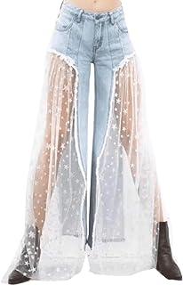 AngelSpace レディースパラソルズボンデニムレース生の裾半透明リラックスフィットジーンズ