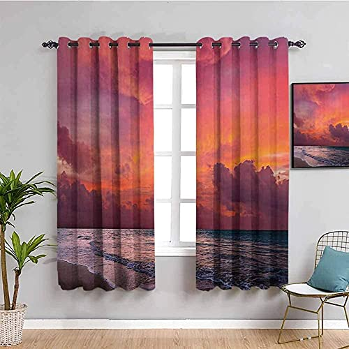 LTHCELE Blackout Curtains for Bedroom - Red sky clouds sea - 3D Print Pattern Eyelet Thermal Insulated - 59 x 65 inch - 90% Blackout Curtains for Kids Boys Girls Playroom