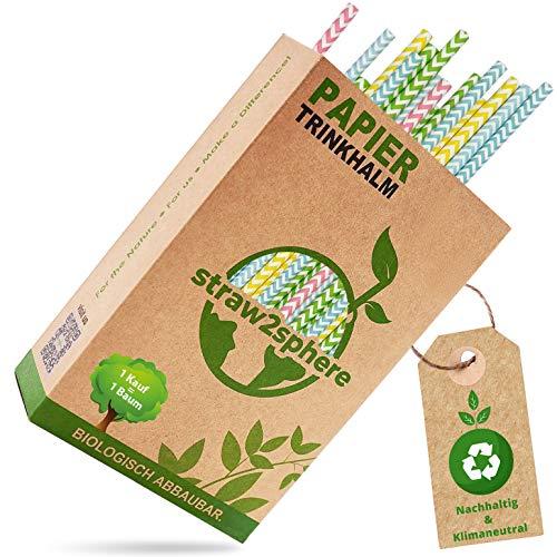 straw2sphere® Papierstrohhalme gewellt   160 Stück   1 Baum für jeden Kauf   Bio Strohhalme Papier   Trinkhalme Papier für Kinder   Cocktail Strohhalm Pappe   Papiertrinkhalme Hochzeit