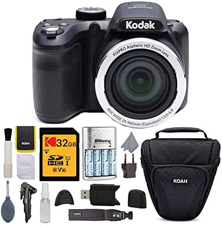 Kodak PIXPRO AZ401 | Astro Zoom Digital Camera (Black) with 32GB Memory Card, Rapid Charger with 4 AA Batteries, and Koah Holster Case with Accessory Bundle (5 Items)