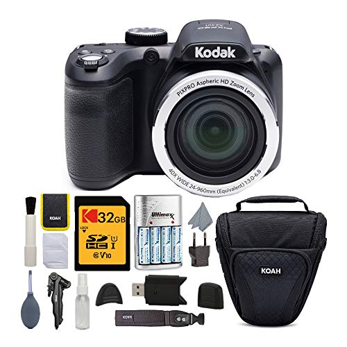 Kodak PIXPRO AZ401 Astro Zoom Digital Camera (Black) with 32GB Memory Card, Rapid Charger with 4 AA Batteries, and Koah Holster Case with Accessory Bundle (5 Items)