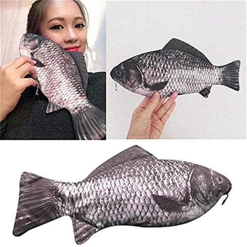 ZOZOSEP Portalápices con Forma de pez Carpa Regalo Divertido Bolígrafo Estuche con Cremallera Cartera Carpa Pescado como Bolsa con Cremallera