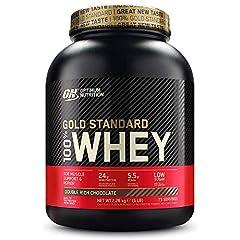Optimum Nutrition ON Gold Standard Whey Protein Powder, Protein Powder for Muscle Building, Naturally Contained BCAA and Glutamine, Double Rich Chocolate, 73 Porcje, 2.26kg, Opakowanie może się różnić