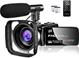 Video Camera 1080P Camcorder Full HD 30FPS 24MP Vlogging Camera for YouTube IR Night Vision 16X Digital Zoom Time Lapse Webcam YouTube Camera with Microphone Remote Control Lens Hood and 2 Batteries