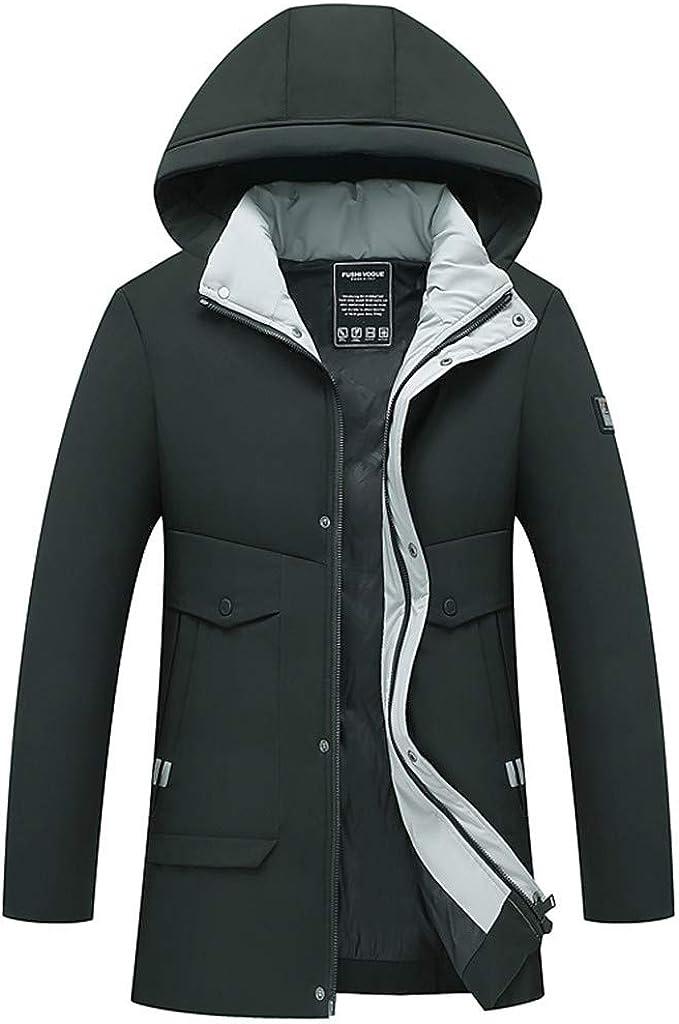 Men's Long Puffer Down Winter Warm Coat Zipper Hoodies Jacket Windproof Outwear