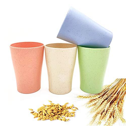 4 vasos biodegradables reutilizables de paja de trigo ecológica, irrompible, para beber café, leche, jugo, taza de baño, taza de dientes, lavavajillas y microondas