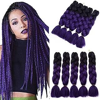 YXCHERISHAIR 24inch 5Packs/Lot Kanekalon Xpression Braiding Ombre Purple Hair for Women and Girls Crochet Braids,100G Synthetic Yaki Jumbo Braiding Hair Extensions (24 inch 5 packs, T1B/PURPLE)