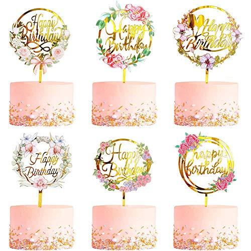CBGGQ 6 Pcs Blumen Happy Birthday Cake Topper Set, Acryl Glitter Cupcake Topper für Geburtstagspartys Dekoration, Tortenstecker für Geburtstagsdeko für Mädchen, Kinder, Hochzeit, Mutter (Blumen)