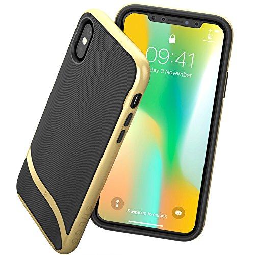 英国Snugg iPhoneXケース 耐衝撃 'Cascade' シリーズ ツーピース構造 シリコンTPU x 耐衝撃ハードケース - 生涯補償付き(ゴールド)