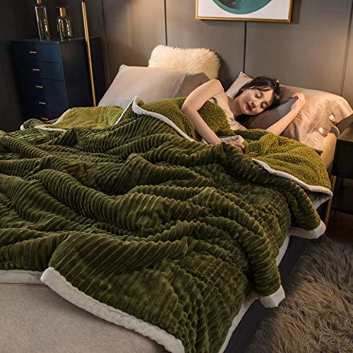 Amosiwallart Mantas para Sofa, Mantas para Cama de Franela Reversible, Mantas Ligeras de 100% Microfibra - Fácil De Limpiar - Extra Suave Cálido -Verde Mineral_El 100 * 150cm