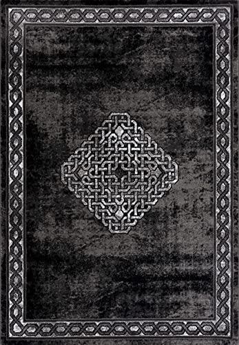 Siela Teppich Wohnzimmer Schwarz,Kurzflor Teppich, Teppiche Für Schlafzimmer, Küche Läufer Flur, Modern Deko Esszimmer, Hochwertig (80 x 150 cm)