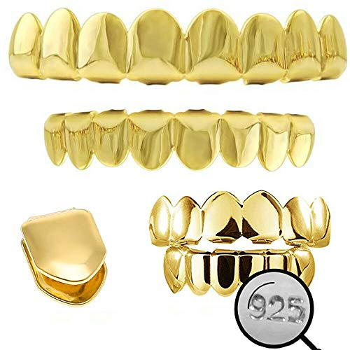 Harlembling Solid 925 Sterling Silver Grillz - 14K Yellow Gold Finish - 6 Or 8 Tooth Or Single Caps/Top & Bottom Grills for Teeth - Real Solid Silver Fronts Don't Change Color (6 Teeth Bottom)