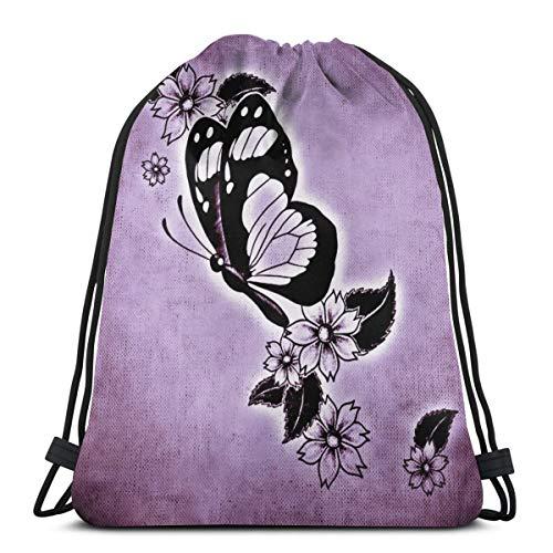 Aufsteigender Kordelzugbeutel Schmetterling Blumen Rucksack Gym Sack Kit Tasche Leichte Schwimmsport Tasche für Erwachsene Teenager
