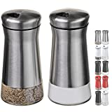 CHEFVANTAGE Salt and Pepper Shakers Set with Adjustable Holes - Stainless Steel