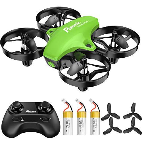 Potensic Mini Drone A20 pour Enfants Avion Hélicoptère avec 3 Batteries, Télécommandé 3 Vitesses Réglables, Maintien de l'altitude, Un Bouton de Décollage/Atterrissage Jouet Cadeau pour Débutant