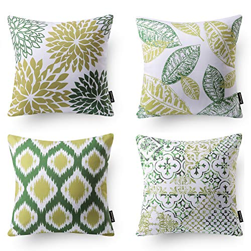 Phantoscope Set of 4 Decorative New Living Series Green Throw Pillow Case Cushion Cover 18 x 18 inches 45 x 45 cm