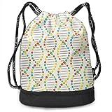 PmseK Rucksack Bedruckt mit Kordelzug, Drawstring Bag Color DNA Stripe Shoulder Bags Travel Sport...