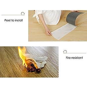 CO-Z 16 PCS/24 Square Feet, Vinyl Floor Planks Adhesive Floor Tiles, 2.0mm Thick (Ash - 24 sq ft/Pack)