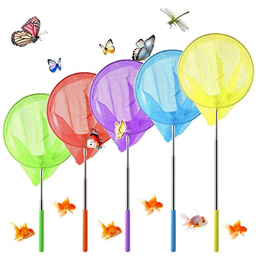 Sunshine smile 5pcs Kinder Schmetterlingsnetz,Schmetterling Net,Teleskop Kinder Kescher,Garten Schmetterling Spielzeug,Fischernetz Ausziehbar,Pool Outdoor Fischernetz (5ps)