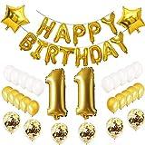 Oumezon - Globos de decoración para cumpleaños número 11, 11 unidades, color dorado