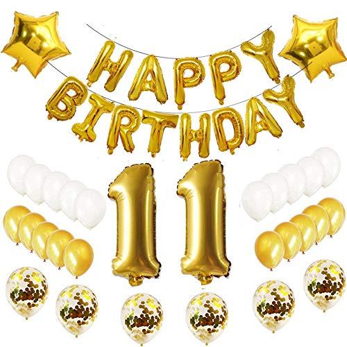 Oumezon - Set de 11 Globos para decoración de cumpleaños, Color Dorado