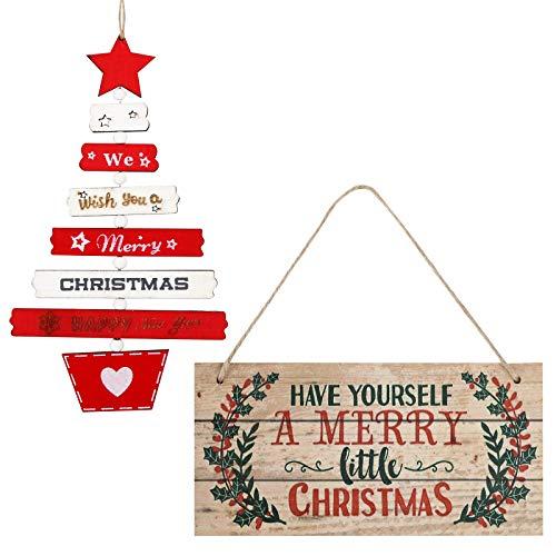 BHGT 2 Letreros Madera Navidad Adornos Colgantes árbol Navidad Pancartas Carteles Puerta Decoración Fiesta Regalo Adornos Navideños Manualidades