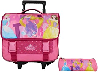 Mochila con ruedas de 38 cm + estuche de princesas rosa Disney