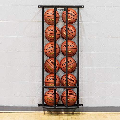 FORZA Soporte Portabalones Fijo de Pared – Estantería Guardapelotas de Acero para Balones de Baloncesto, Fútbol, Voleibol, Balonmano (Armario Seguro con Candados) (6 balones)