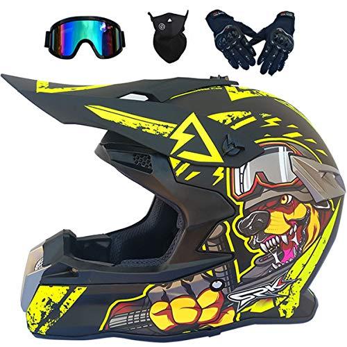 Casco Moto Niño 5-16 Años MJH-02 Cascos Motocross Integral Hombre Mujer para...