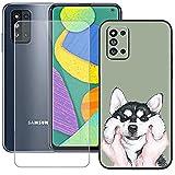 szjckj Funda para Samsung Galaxy F52 5G (6,6 Pulgadas) + Anti-caída Protector de Pantalla, Case Cover Carcasa Bumper Clear TPU Silicone Cristal Vidrio Templado - LLM8