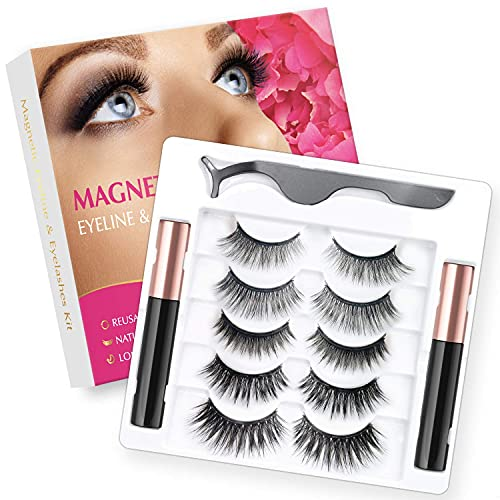 Rossy Magnetic Eyelash and Eyeliner Kit 5 Pairs 3D 5D Magnetic Eyelashes with 2 Special Magnetic Eyeliners and 1 Tweezer, Easy to Apply with Natural Look