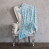 AVAFORT Velvet Plush Home Fleece Throw Blanket for Couch Sofa Bed, Warm Elegant Fuzzy Flannel Blanket for Kid Baby Adults or Pet, Lightweight Soft Cozy Luxury Microfiber Blankets (Eye Poodles-Blue)