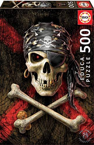 Educa Borras - Genuine Puzzles, Puzzle 500 piezas, Calavera pirata (17964)