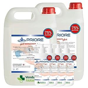 Gel Igienizzante Mani – 2 Taniche da 5 litri e 4 flaconi con erogatore da 1 litro di gel mani alcool 75% antibatterico. MADE IN ITALY (5000 ml + 5000 ml + 1000 ml + 1000 ml + 1000 ml + 1000 ml)
