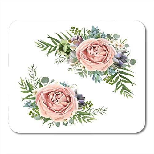 Mauspads blumenstrauß garten rosa pfirsich lavendel rosenwachs blume eukalyptuszweig grüner farn palmblätter mauspad für notebooks, Desktop-computer mausmatten, Büromaterial