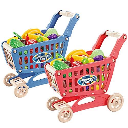 DAJIANG Juego infantil de casa de simulación de carrito de la compra de supermercado carrito de la compra carrito de la compra de frutas y verduras juguete conjunto caballero azul