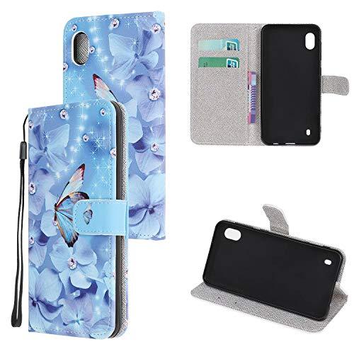 Miagon Bunt Muster Full Body Hülle für Samsung Galaxy A01,PU Leder Leder Flip Case Schutzhülle Tasche mit Ständer Kartenfach Magnetschnalle,Blau Schmetterling