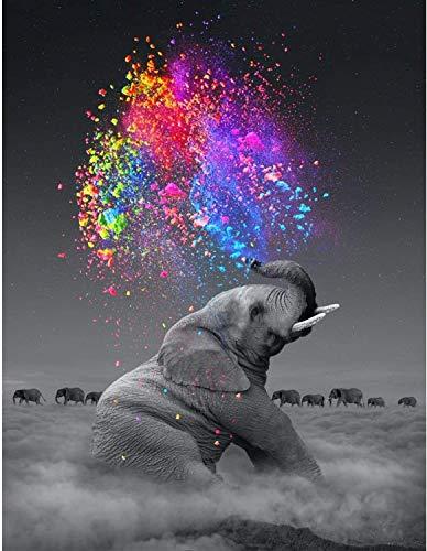 WLOT 5D Fai da Te Pittura Diamante Pieno di Numero Kit, Diamond Painting 5D DIY Kit Strass Tela Ricamo Incollati per la Decorazione della Parete di Casa (40 x 30 cm - Elefante)