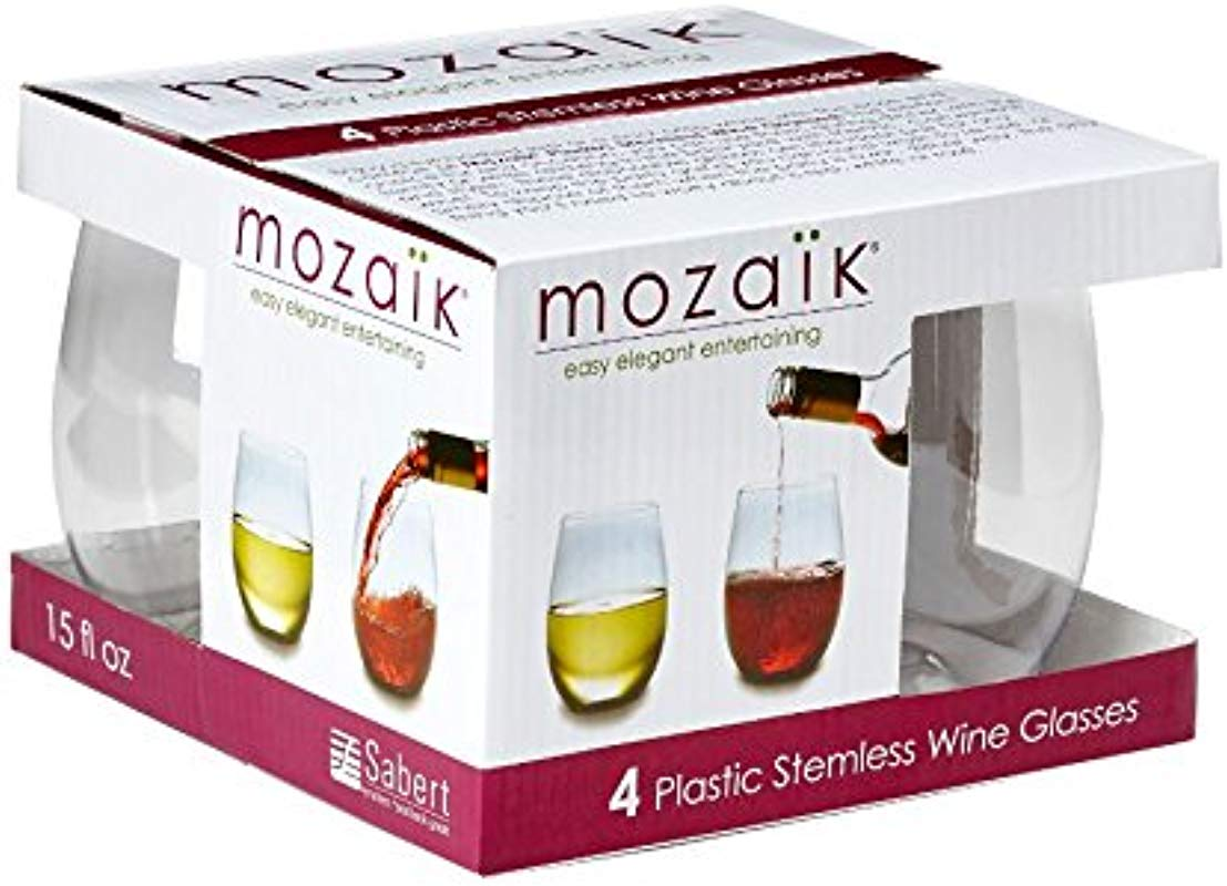 Mozaik Premium Plastic 15 Oz Stemless Wine Glasses 4 Count