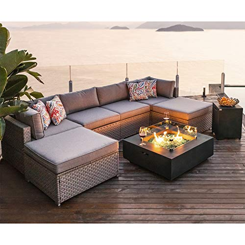 COSIEST 8-Piece Fire Pit Table Outdoor Furniture Sofa, Gray Wicker Cushion Sectional w 35-inch Square Graphite Fire Heater (50,000 BTU) w Wind Guard and Tank Outside(20 Gallon) for Garden,Pool