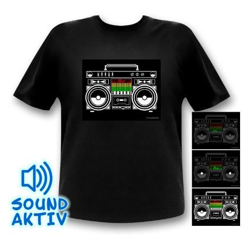 Led-fashion T-Shirt Lumineux à LED Modèle Equalizer Boombox - M