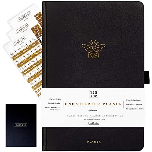 Planer Diary - Agenda semanal sin fecha - A5 papel grueso 140 g/m² - Calendario sin fecha - Planificador semanal/mensual / anual - Agenda - Gold Bee
