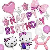 Hello Kitty Fiesta Decoración para mujer niña cumpleaños Fiesta, Rosa 3D Hello Kitty Foil Globos Decoración de cumpleaños Rosa Macaron Fiesta Globos Pancarta para Fiesta Ducha Decoración